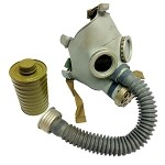 New (Old Stock) Gray Youth Russian Gas Mask (Costume) [Mask, Bag & Canister Style Filter]