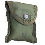 Used Government Issue Olive Drab Nylon First Aid / Compass Pouch