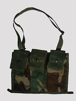 Used Government Issue Woodland Molle II 6 Mag Bandoleer Pouch, w/strap