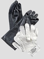 New Medium Black Rubber Chemical Gloves