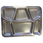 New Government Issue Stainless Steel 6 Compartment Mess Trays