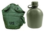 New Government Issue 1 Quart Canteen with Used Olive Drab Nylon Cover