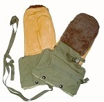 New Medium OD Army Arctic Mittens Set with Fur Back